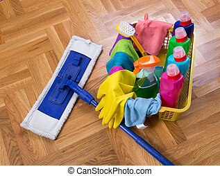 House keeping products - Top view of cleaning supplies and...
