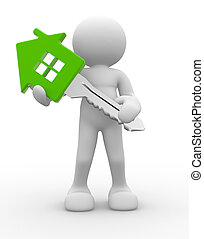 House key - 3d people - human character, person with a house...
