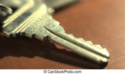 Close up of house key, zoom in