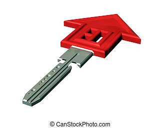 """House Key - Flat key with a symbol the """"red house"""". It is ..."""