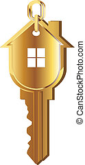 House key gold logo - House key gold vector