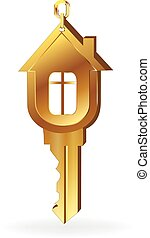 House key gold logo