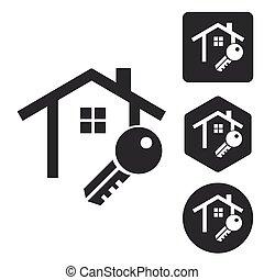 House key icon set, monochrome