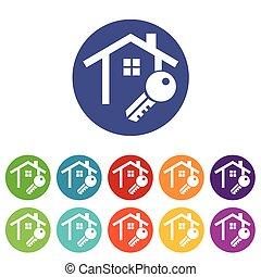 House key icons colored set
