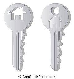 House key - Illustration of household keys on a white ...