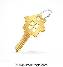 House key isolated on white background .