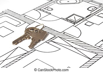house key on a blueprint