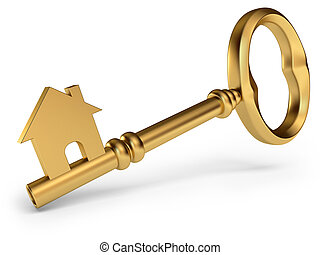 House Key, on a white background, 3d render