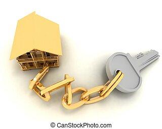 house key on the white background