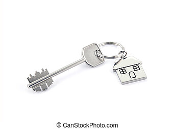 House key on white background with clipping path