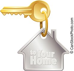 House key - Home key with ring and house shaped keychain on...
