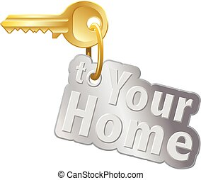 House key - Home key with ring and keychain on white...