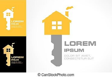 House key Vector. Real Estate Logo Design.
