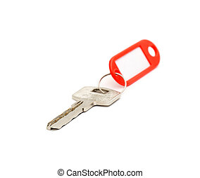 House key with blank label isolated on white background