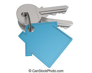 House key with blue house icon