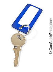 House key with blue tag isolated on white