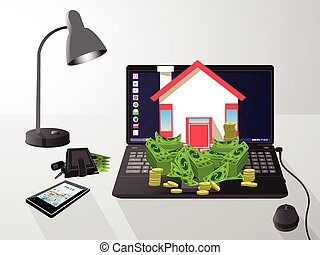 House key with money on a computer. icon