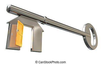 A perspective view of a concept metal key with the teeth resembling a house icon with an open orange door on an isolated background