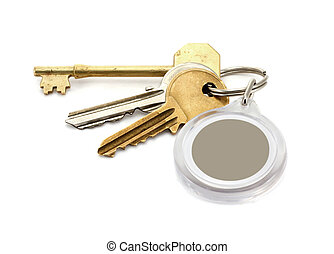 House keys blank key fob - A set of worn house keys with...