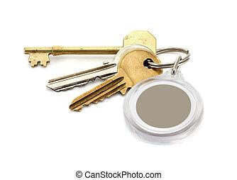 House keys blank key fob - A set of worn house keys with...