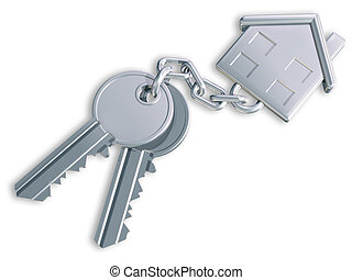 Illustration of two keys linked to a house shaped fob