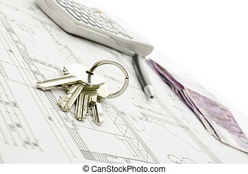 House keys on blueprint
