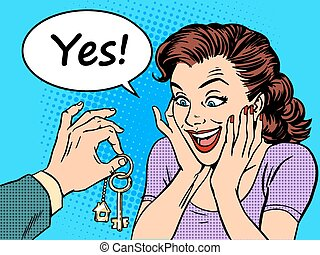 House keys real estate woman gift buy
