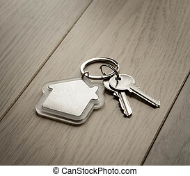 House keys with house keyring