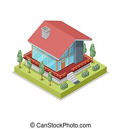 House landscape design isometric 3D icon