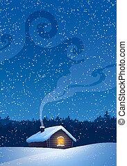 house., landskap, vinter