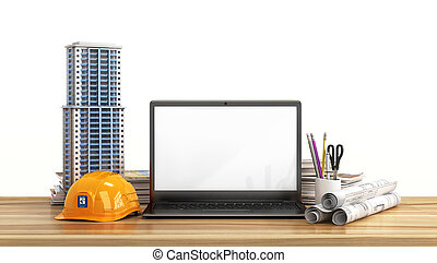 House layout, drawing projects, helmet and open laptop with blank screen on the wooden table. 3d illustration