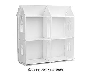 White wooden model of a house - House layout. White wooden...