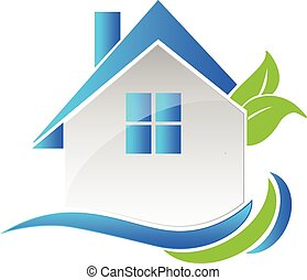 House leafs and waves logo - Vector house leafs logo card...
