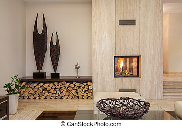 house:, levend, moderne kamer, travertine
