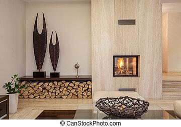 house:, levend, moderne kamer, travertine