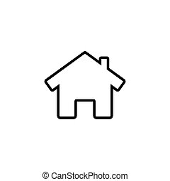 House line icon with door, outline design