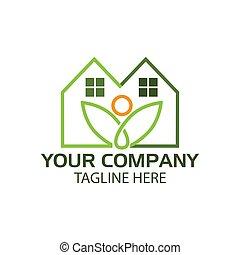House line logo with plant, flat design. Vector Illustration on white background