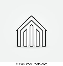 House linear icon - vector concept property symbol or logo in thin line style