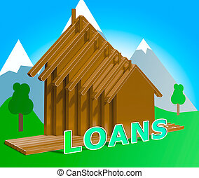 House Loans Shows Home Borrowing Repayments 3d Illustration...