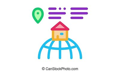 house location Icon Animation. color house location animated icon on white background