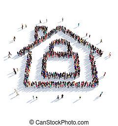 house lock people 3D rendering