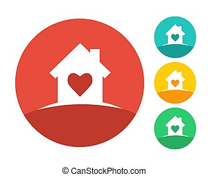 House logo concept with heart inside
