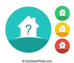 House logo concept with question mark