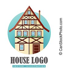 House Logo Flat Design Vector Illustration