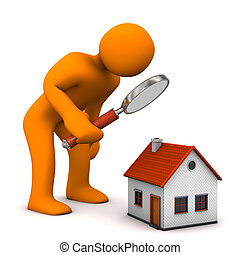 Orange cartoon character with loupe and house.