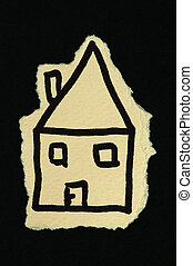 House made ??of beige paper