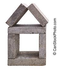 House made of concrete building blocks