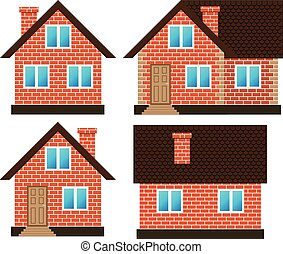 House made of red bricks on different sides, set vector...