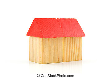 House made out of wooden blocks