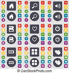 House, Magnifying glass, Sound, SIM card, Heart, Gear, Charging, Apps, Heart icon symbol. A large set of flat, colored buttons for your design. Vector